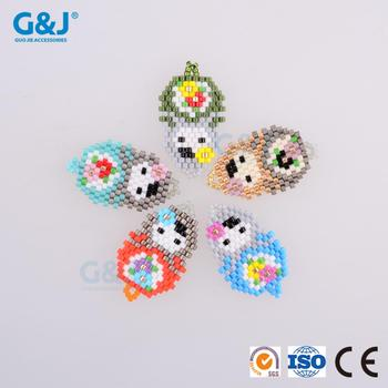 guojie brand high quality Rainbow decorative DIY bead cute doll shape pendant for garments necklace