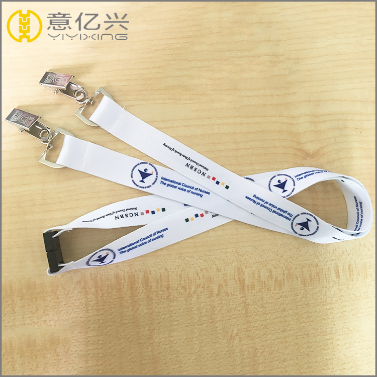 Heat transfer funny stretch plastic buckle customized printed neck lanyard