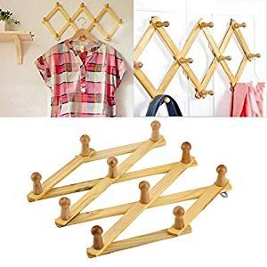 Solid Wooden Hanger Expandable Coat Rack Hat Hook Expanding Fold NEW FE