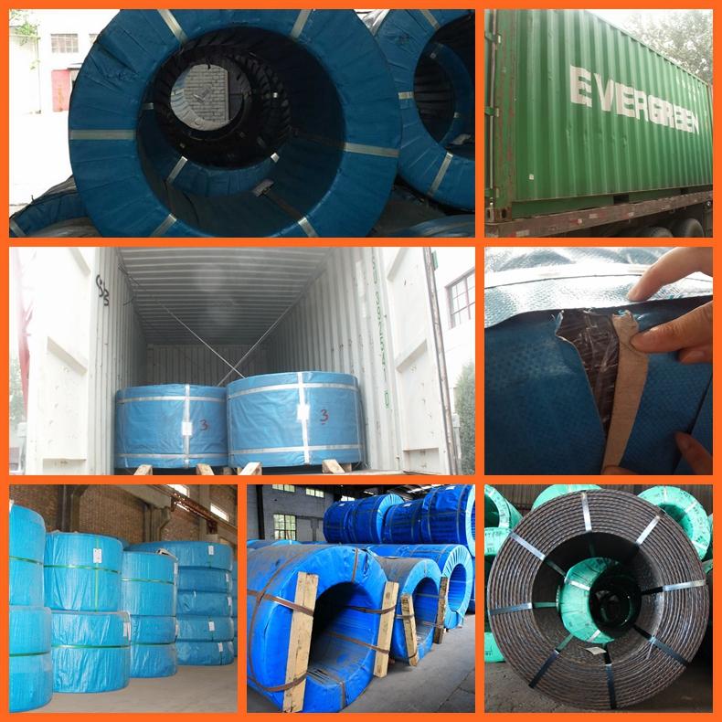ASTM A416/BS5896/JISG3536 low relaxation 6.5mm pc steel strand tianjin