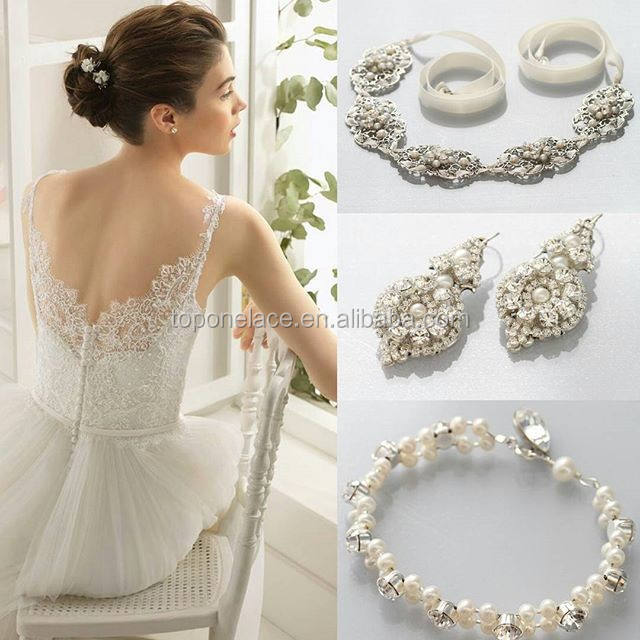 Fancy Garment French Embroidery Tulle Lace Beaded Pearl Tulle Fabric For Wedding Dress