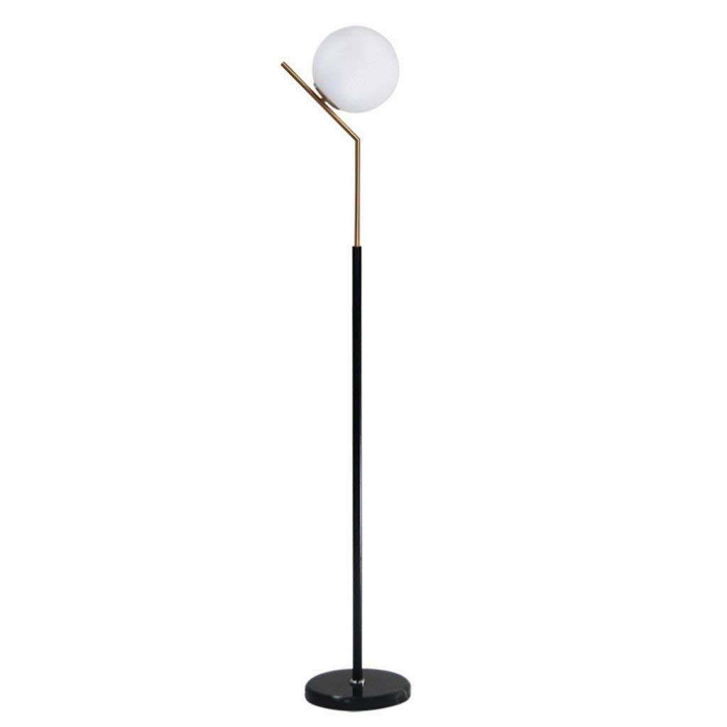 "Single Stem Spherical Floor Lamp Uplight, Glass Lampshade, Height 57.13"", E27, Nordic Simple Style Living Room Bedroom Study Office Iron Floor Lamp, 2 Colors Available (Color : Adjustable switch)"