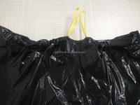 JTD manufacture wholesale black garbage bags with ribbon tie string / drawstring jumbo trash bags
