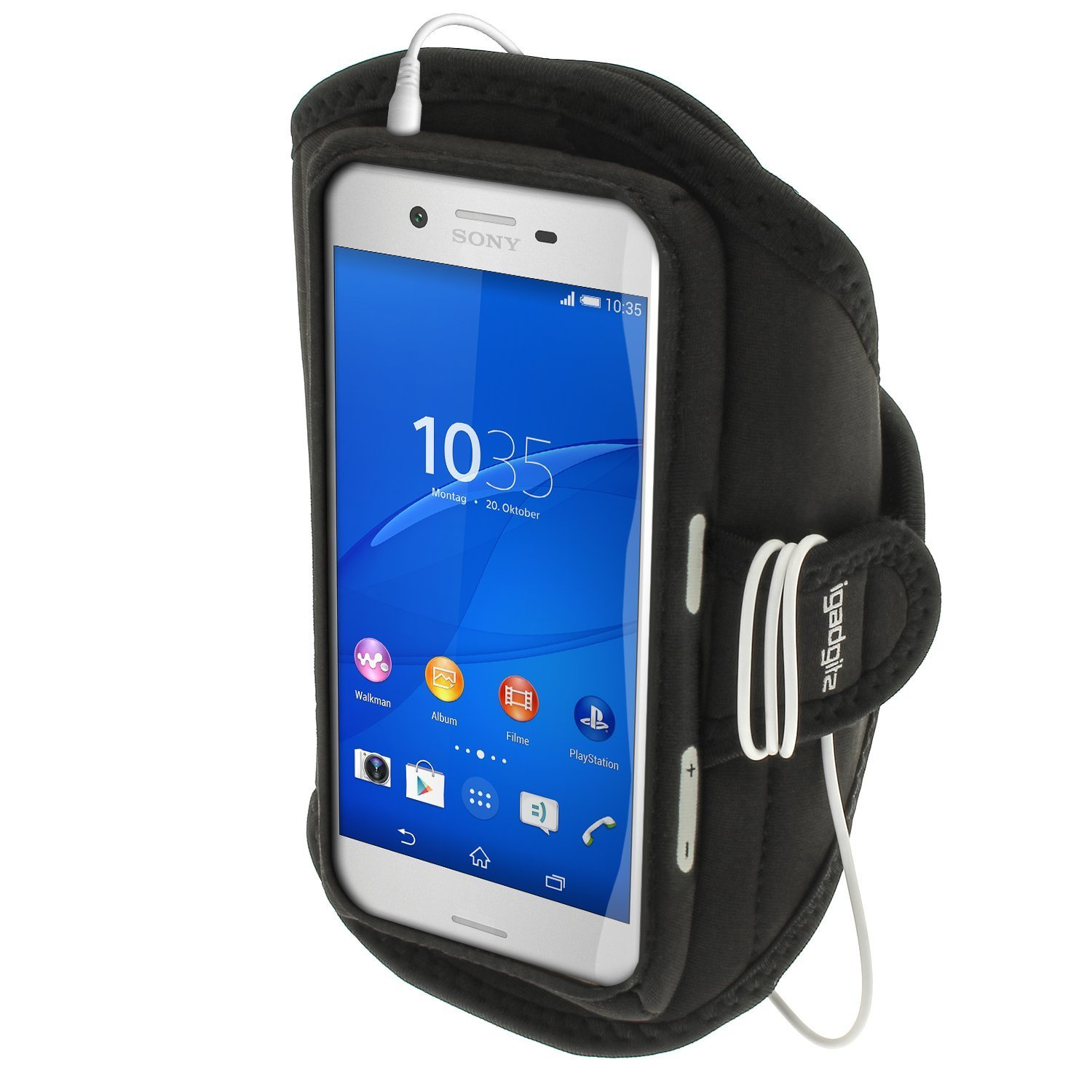 Get Quotations · iGadgitz Water Resistant Black Sports Jogging Gym Armband for Sony Xperia X F5121 F5122 &