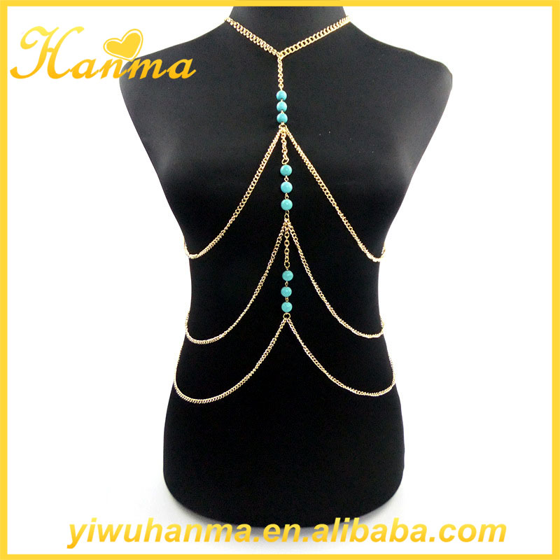 Gold plated turquoise jewelry wholesale body chains