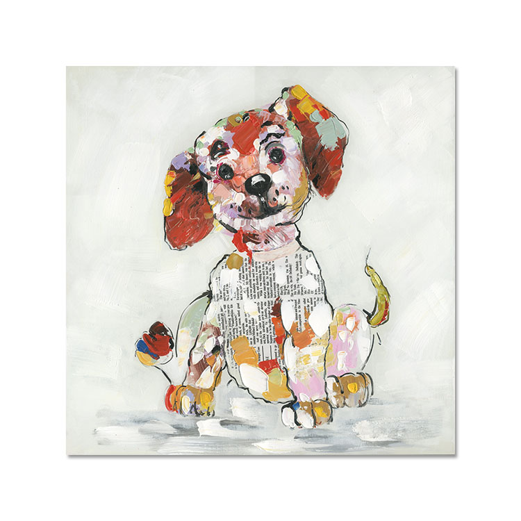 Animal dog canvas picture puppy friendship home decoration handmade Abstract Art oil painting colors