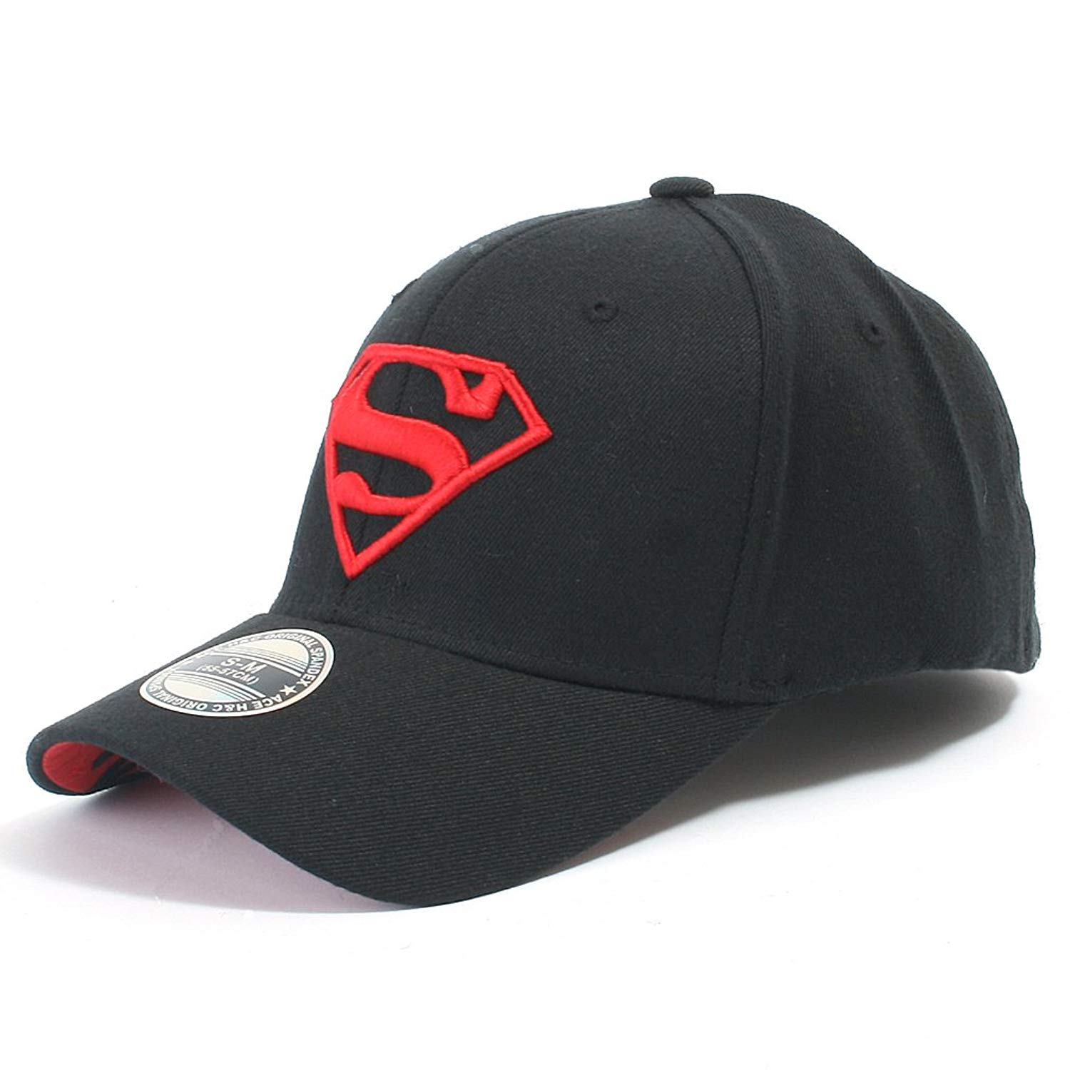 Get Quotations · ililily Superman Baseball Cap Superman Shield Embroidery  Fitted Trucker Hat 47fc8611d2f6