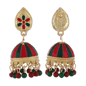 Summer Fashion Indian Imitation Gold Jhumka Jhumki Drop Earrings Women Handmade Wood Beads Bridal Party Jewelry Christmas Gifts