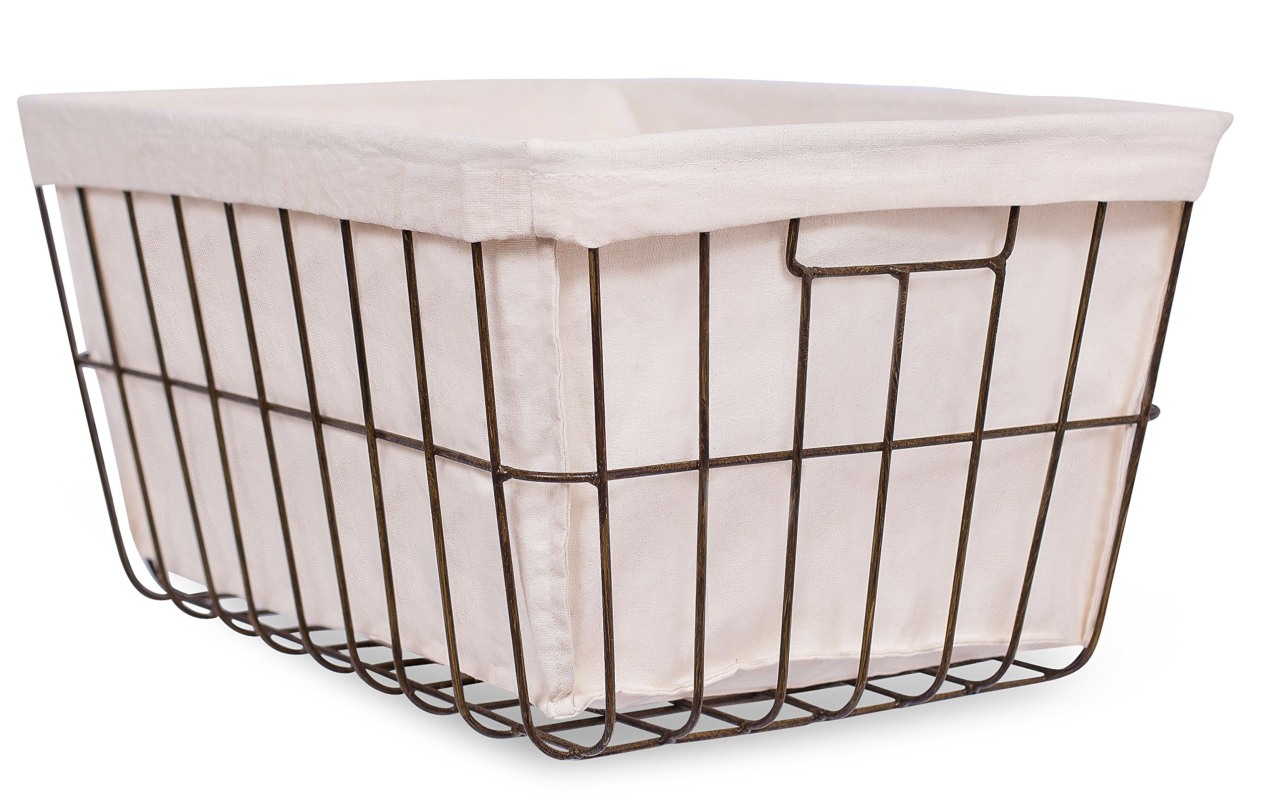 BirdRock Home Office Wire Basket with Liner | Rectangular | Modern Age | Home Storage Bins | Decorative | Metal Frame | Recycle Trash Can