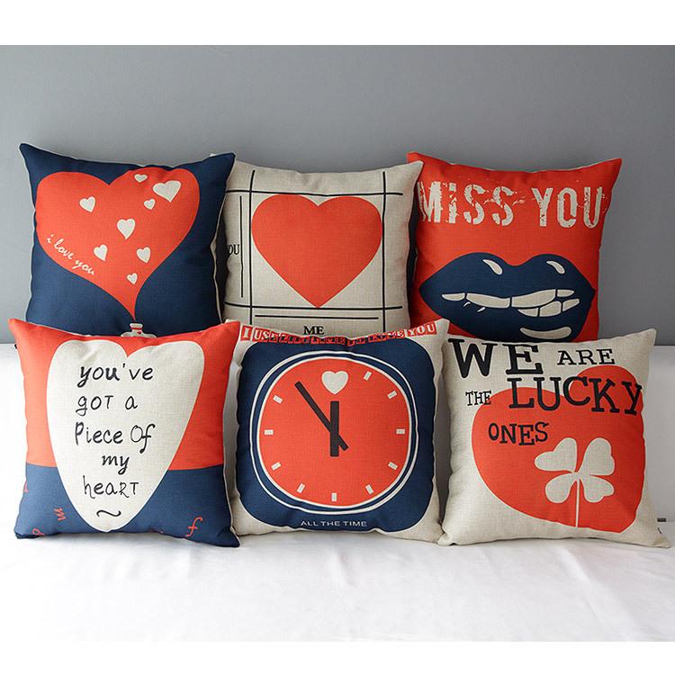 Red   blue cushion covers heart throw pillows  a7289f415943