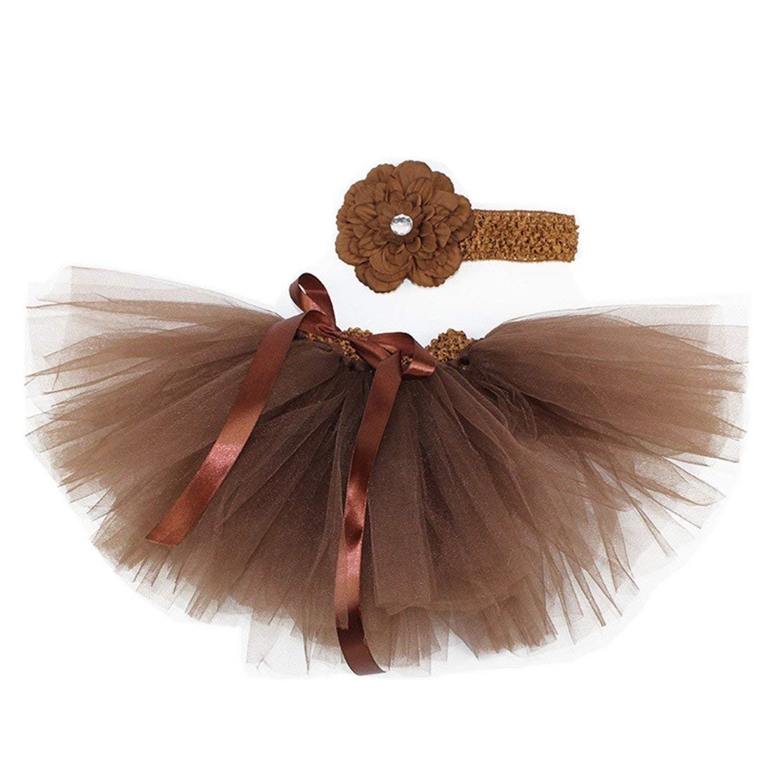 9d09205dd43 Get Quotations · MizHome Newborn Baby Girls Birthday Layered Tulle Tutu  Skirt Flower Headwear Outfits