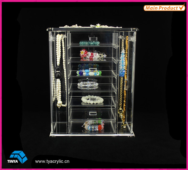 7-tier Acrylic Jewellery Display Stand,Counter Necklace Bracelet Organizer Box,Wholesale Jewelry Store Display Counter Exporter