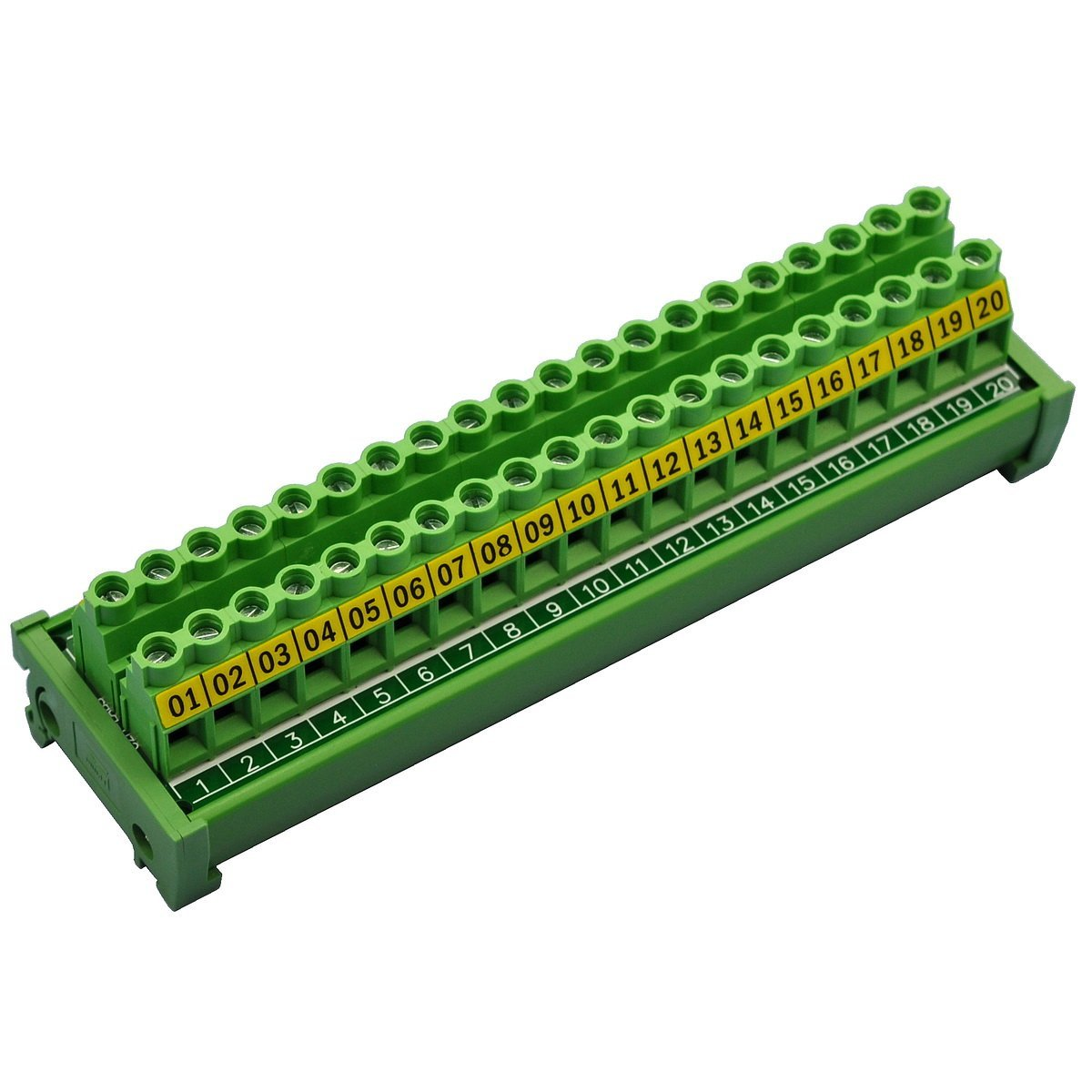 Electronics-Salon DIN Rail Mount 20 Position 30A/300V Screw Terminal Block Distribution Module.