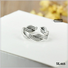 Echtes 925 Sterling Silber Thumb/<span class=keywords><strong>Finger</strong></span>/Woven Rope Ring HERREN/DAMEN SIL465