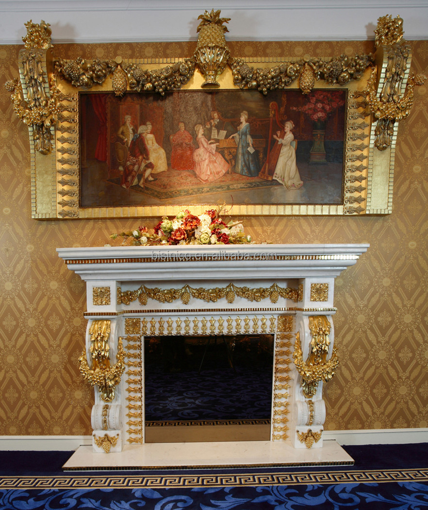 luxury french louis xv marble fireplace with 24k gold plated brass