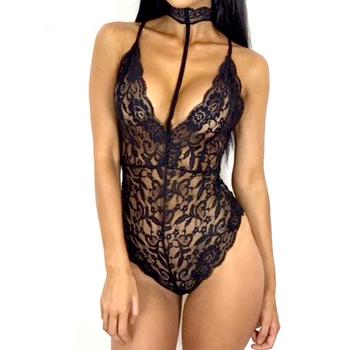 Sexy Black Lace Bodysuit Women Summer Bodycon Skinny Hollow Out Floral  Spaghetti Strap V Neck Bodysuit 343d21328