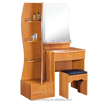 Simple Design Mdf Dressing Table With Small Stool Modern Wooden Panel Type Makeup Dresser