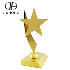 hiqh quality gold silver award star shape trophy with ribbon