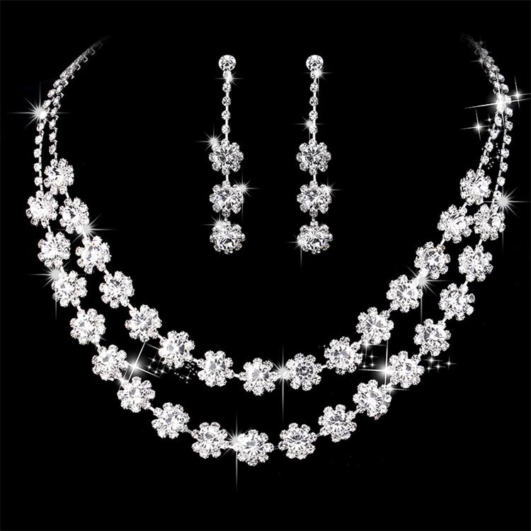 Double Flower White Color Wedding Jewelry Sets Bridal Necklace Earring Engagement Crystal for Woman Gift Jewellery