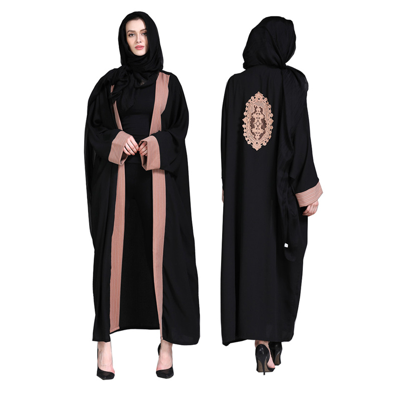 Newest Muslim Dress Long Sleeve Black Loose Embroidery Women Abaya Fashion With Belt Dubai Front Open Abaya Kaftan