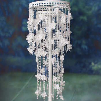 Metal Crystal Wedding Backdrop Road Lead Pillars White Flower Stand 0 95m For Walkway Decoration