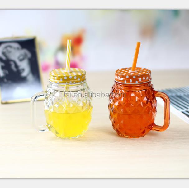 d 39 ananas en verre mason jar avec poign e et de la paille et couvercle pour la vente en gros. Black Bedroom Furniture Sets. Home Design Ideas