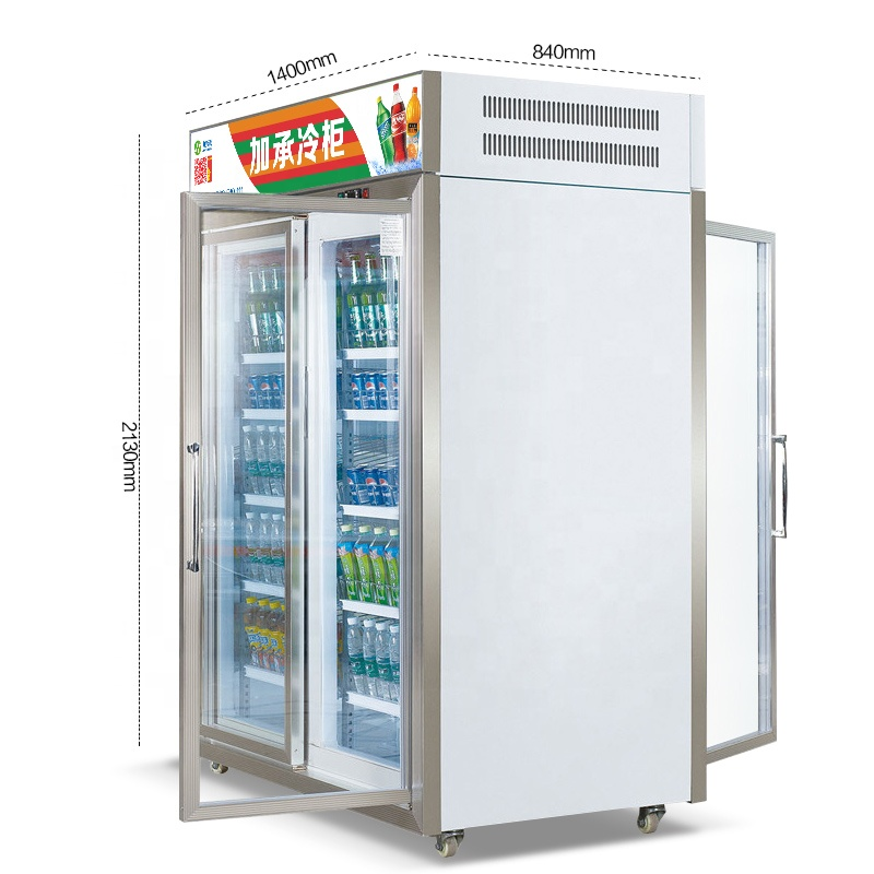 Jiacheng front and rear open style air cooling cold drink refrigerator, glass door fridge, convenience store beverage cooler