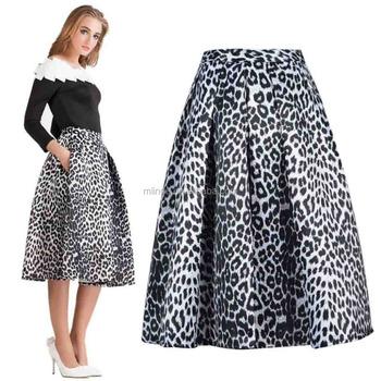 906fe023bdac9f Tiger Pattern Print Skirts Yellow White Leopard Print Floral A Line Shape  Midi Skirt For Women