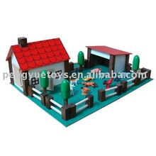 Wooden doll house( Farm house toy)with animal