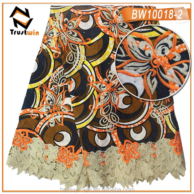 Hot dsale african print fabric lace wax for cloth of BW10018