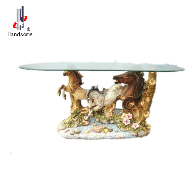 Resin standing glass round tea table resin coffee tables