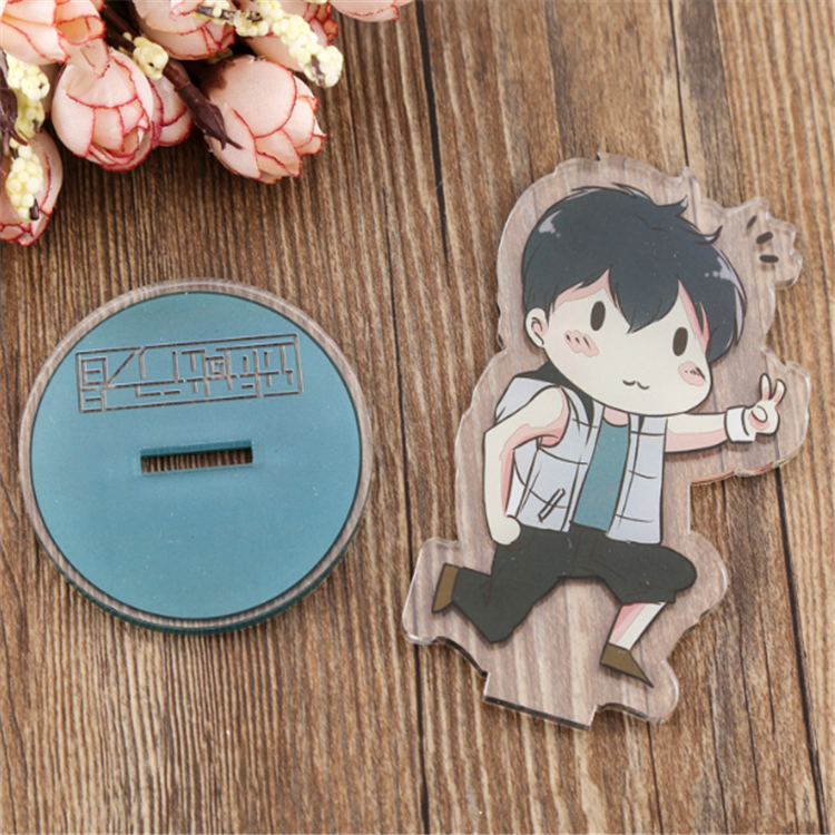 Double sided printed custom anime acrylic plastic keychain stand charm