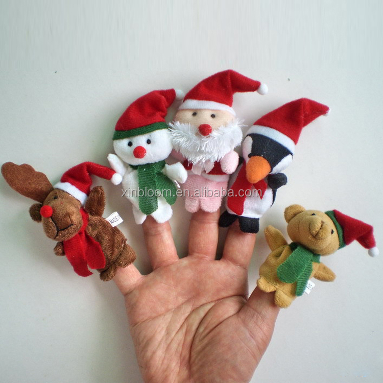 christmas series plush santa claus snowman miludeer small animal finger puppet 5 in 1 set toy doll