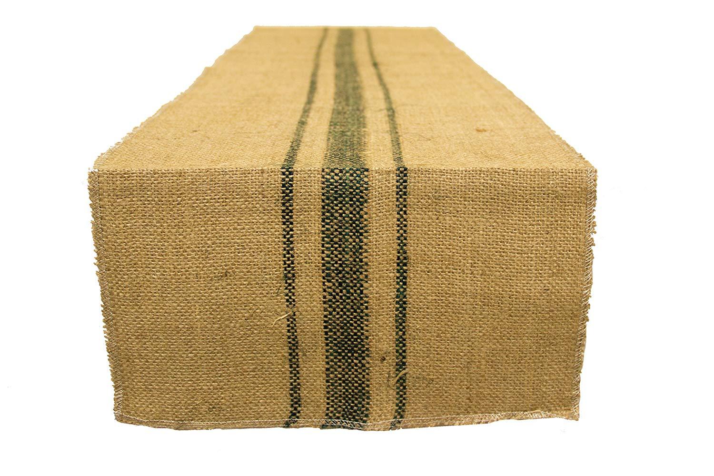 AAYU Brand Premium Burlap Table Runner with 3 Green Stripes | 12 x 108 inch | Natural Jute Burlap Product