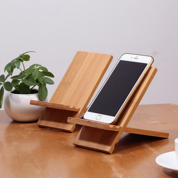 Personalized wooden phone holder smart wood display