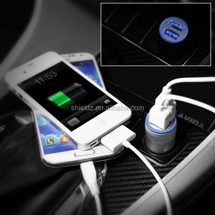 Quick Charger 3.1A Dual Ports USB Fast Car Charger, Bullet Car Dual Port Charger, Pocket USB Car Phone Charger Wholesale