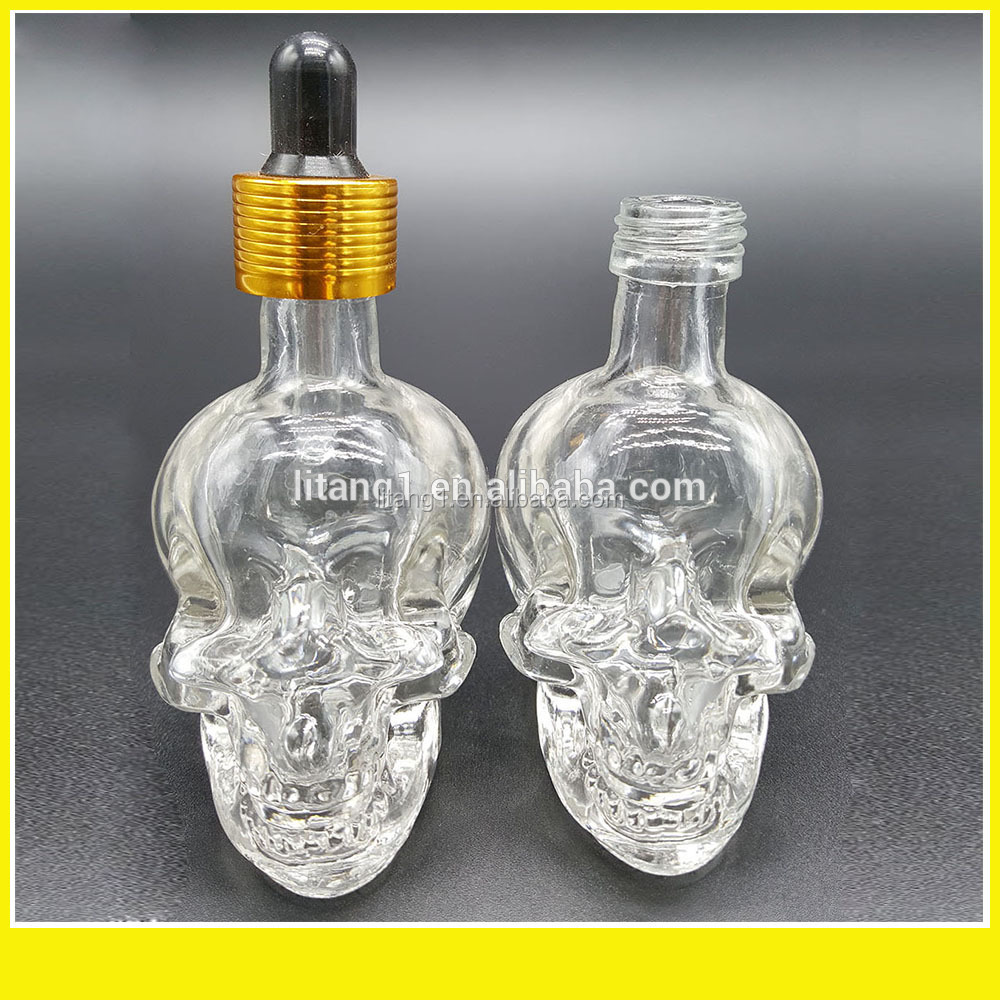 colorful 15ml skull glass dropper bottle caps for bottle dispensing caps/skull glass bottle