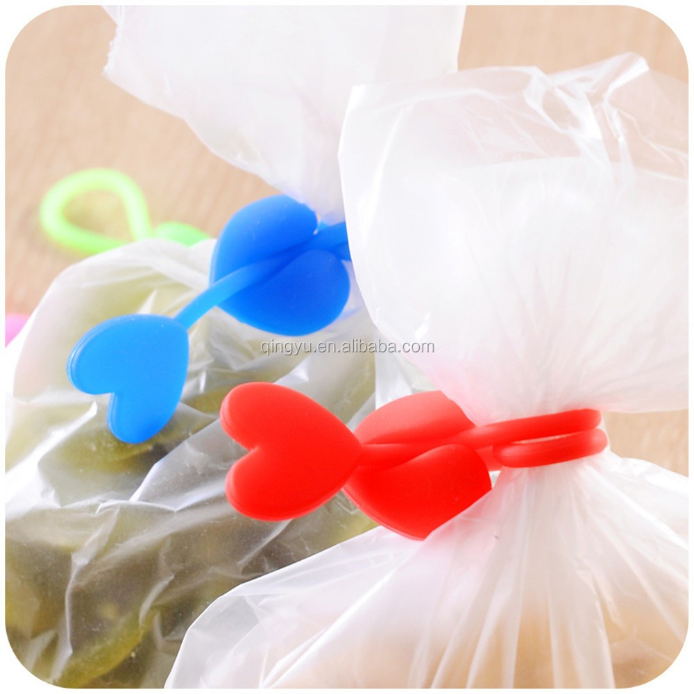 Heart shaped food bags wire tie silicone tie