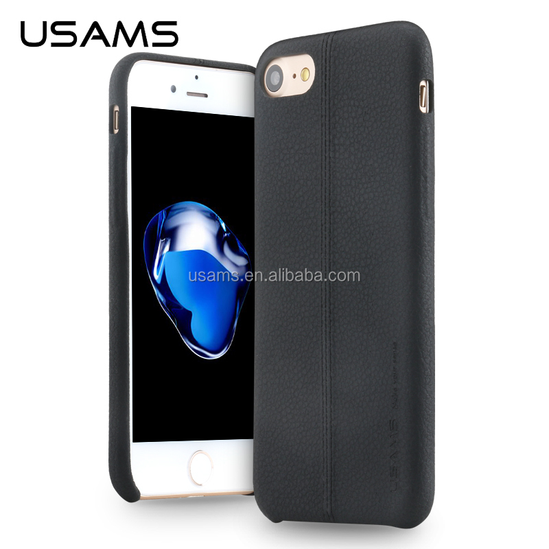 USAMS best selling products for iphone 7 Lichee Pattern PU Leather back cover, new case for iphone 7 plus