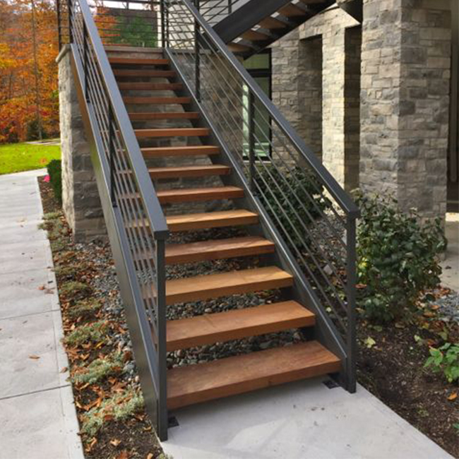 Exterior Wood Stairs Modern Stiarcase Straight Steel Stairs - Buy ...