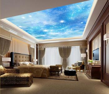 Personnalise Papier Peint Chambre Plafond Salon Canape 3d Bleu Ciel