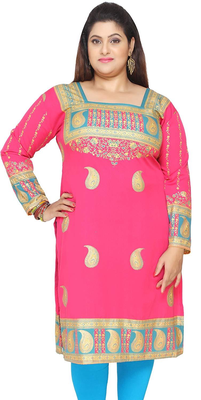 141c55473ff Get Quotations · Maple Clothing Women's Plus Size Dress Indian Tunics Kurti  Long Top