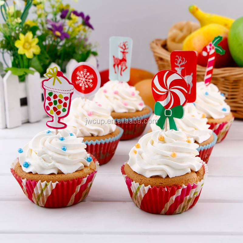 Christmas Cake Party Decoration Baking Cupcake Cup Liner with Topper
