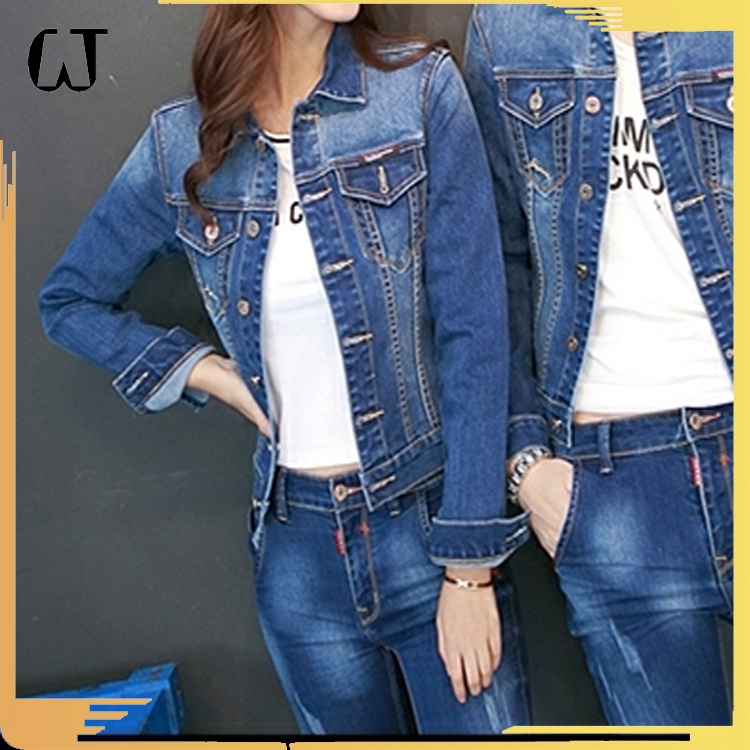 2017 han edition long sleeve short coat women's denim jacket supplier ODM&OEM