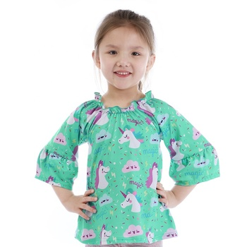 wholesales kids girls baby clothing long sleeve cartoon shirt unicorn print top for girls