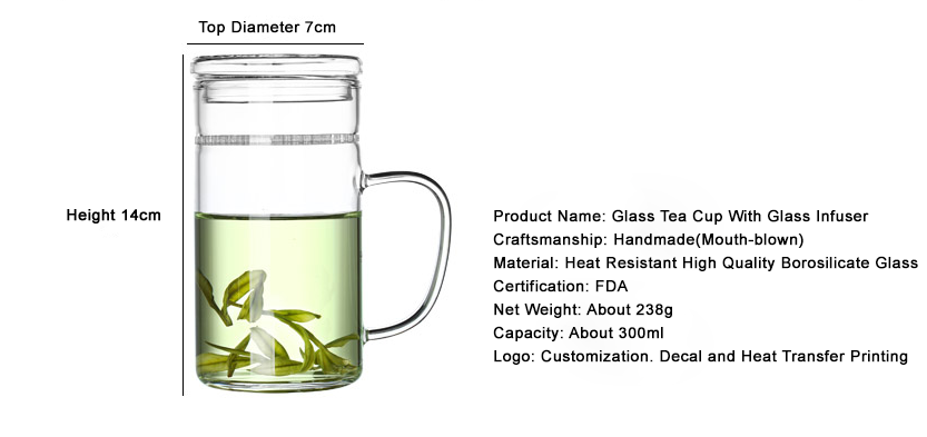 2018 New Glass Tea Cup With Infuser Handmade From Heat Resistant Borosilicate Glass