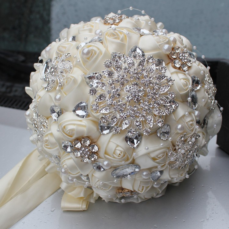 Wedding Flower Bouquets Prices: 2016 Hot Best Selling Price Ivory Cream Brooch Bouquet