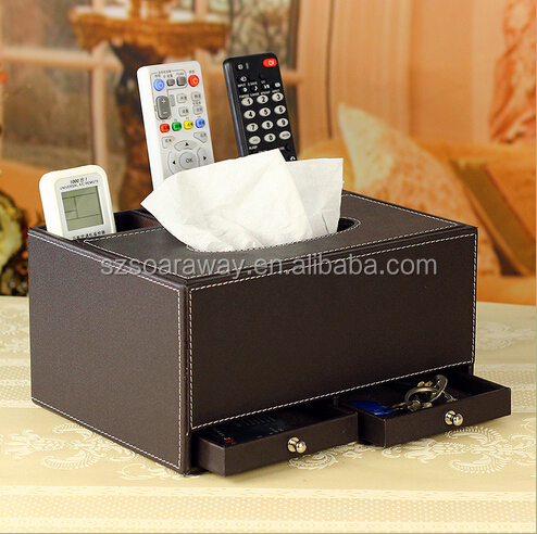 PU leather tissue box cover napkin holder towels makeup organizer organizador storage box .