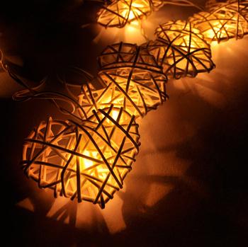 hot handmade natural white rattan heart design string lights for fairy party decor wedding bedroom garden - Decorative String Lights