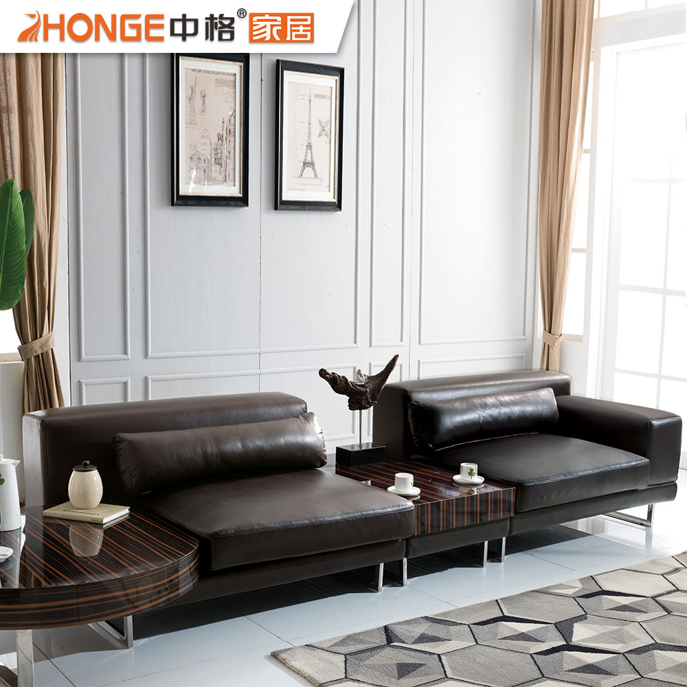 Brown stainless steel sofa living room furniture italy modern leather sofa with side table